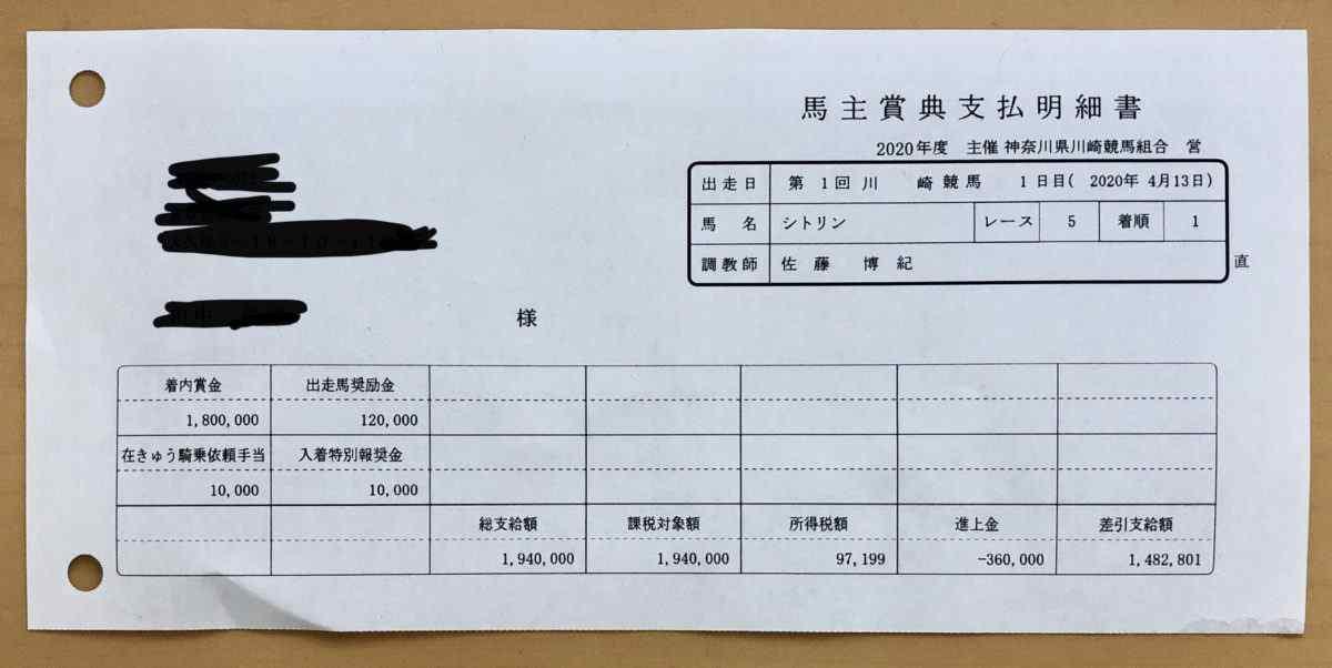 シトリンちゃん2戦めの賞金明細